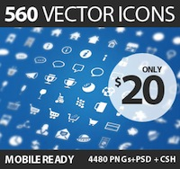 560 Gorgeous Vector Icons - only $20!